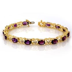 9.55 CTW Amethyst & Diamond Bracelet 10K Yellow Gold - REF-71T6M - 10194