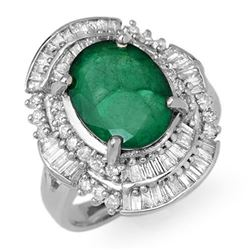 5.95 CTW Emerald & Diamond Ring 18K White Gold - REF-152X8T - 12964