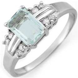 1.41 CTW Aquamarine & Diamond Ring 18K White Gold - REF-42K8W - 10589