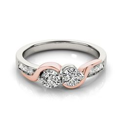 1.25 CTW Certified VS/SI Diamond 2 Stone Ring 18K White & Rose Gold - REF-216X9T - 28213