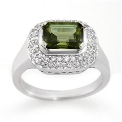2.40 CTW Green Tourmaline & Diamond Ring 14K White Gold - REF-75F5N - 10625