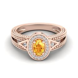 0.53 CTW Citrine & VS/SI Diamond Solitaire Halo Fashion Ring 10K Rose Gold - REF-25H3A - 20833