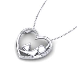 0.25 CTW Micro Pave VS/SI Diamond Heart Necklace 10K White Gold - REF-33T6M - 22649