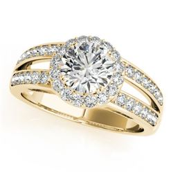 1.6 CTW Certified VS/SI Diamond Solitaire Halo Ring 18K Yellow Gold - REF-415N3Y - 26906