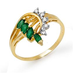 0.55 CTW Emerald & Diamond Ring 10K Yellow Gold - REF-22Y2K - 13019