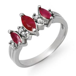 1.0 CTW Ruby & Diamond Ring 18K White Gold - REF-37H8A - 12931