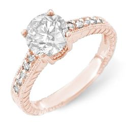 1.05 CTW Certified VS/SI Diamond Solitaire Ring 14K Rose Gold - REF-180X9T - 14074
