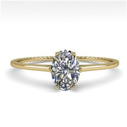 1.0 CTW VS/SI Oval Cut Diamond Solitaire Engagement Ring Size 7 18K Yellow Gold - REF-287X4T - 35893