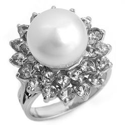 3.0 CTW Yellow Sapphire & Pearl Ring 18K White Gold - REF-112Y9K - 10350