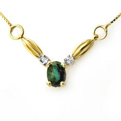 1.30 CTW Emerald & Diamond Necklace 10K Yellow Gold - REF-20Y2K - 12578