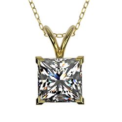 1.25 CTW Certified VS/SI Quality Princess Diamond Necklace 10K Yellow Gold - REF-423A3X - 33216