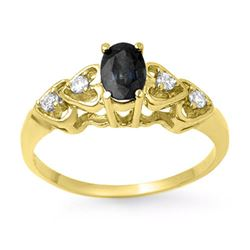 0.57 CTW Blue Sapphire & Diamond Ring 10K Yellow Gold - REF-14T8M - 13742