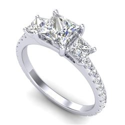 2.14 CTW Princess VS/SI Diamond Art Deco 3 Stone Ring 18K White Gold - REF-454W5F - 37205