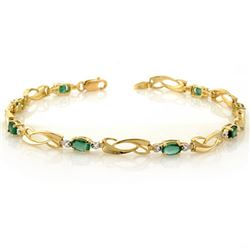 2.02 CTW Emerald & Diamond Bracelet 10K Yellow Gold - REF-26A2X - 10176