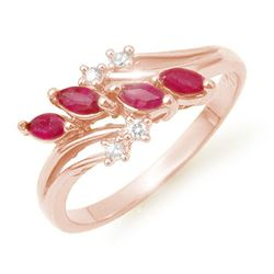 0.40 CTW Ruby & Diamond Ring 18K Rose Gold - REF-38H4A - 13149