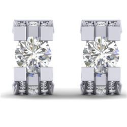 2.25 CTW Certified VS/SI Diamond Art Deco Stud Micro Earrings 14K White Gold - REF-233K5W - 30288