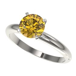 1.50 CTW Certified Intense Yellow SI Diamond Solitaire Ring 10K White Gold - REF-345W5F - 32930