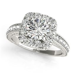 1.11 CTW Certified VS/SI Diamond Solitaire Halo Ring 18K White Gold - REF-169X6T - 26545
