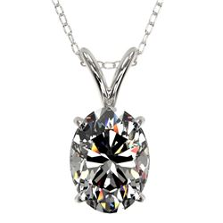 1.25 CTW Certified VS/SI Quality Oval Diamond Solitaire Necklace 10K White Gold - REF-423A3X - 33211