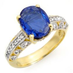 4.33 CTW Kaynite & Diamond Ring 10K Yellow Gold - REF-102M2H - 13406