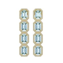 11.54 CTW Aquamarine & Diamond Halo Earrings 10K Yellow Gold - REF-193X3T - 41452