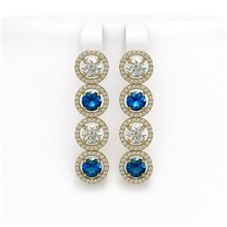 6.25 CTW Blue & White Diamond Designer Earrings 18K Yellow Gold - REF-782T4M - 42685