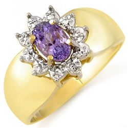 0.70 CTW Tanzanite Ring 14K Yellow Gold - REF-21K5W - 10061
