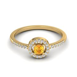 0.50 CTW Citrine & Micro Pave VS/SI Diamond Ring Solitaire Halo 18K Yellow Gold - REF-36X2T - 20697