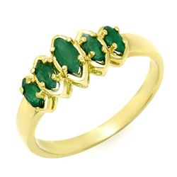 0.50 CTW Emerald Ring 10K Yellow Gold - REF-15A8X - 13141
