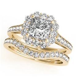 1.75 CTW Certified VS/SI Princess Diamond 2Pc Set Solitaire Halo 14K Yellow Gold - REF-455X8T - 3136