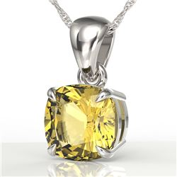 1.50 Cushion Cut CTW Citrine Designer Solitaire Necklace 18K White Gold - REF-24F2N - 21938