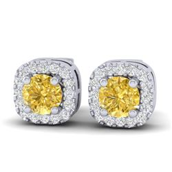 0.75 CTW Citrine & Micro Pave VS/SI Diamond Earrings Halo 18K White Gold - REF-35Y8K - 21171