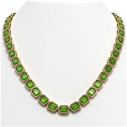 57.3 CTW Peridot & Diamond Halo Necklace 10K Yellow Gold - REF-819M6H - 41359