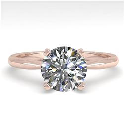 1.50 CTW VS/SI Diamond Engagement Designer Ring 18K Rose Gold - REF-577M5H - 32432