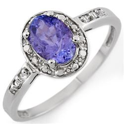 1.10 CTW Tanzanite & Diamond Ring 18K White Gold - REF-32W2F - 10271