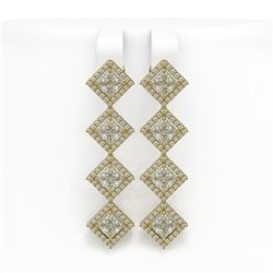 5.92 CTW Princess Cut Diamond Designer Earrings 18K Yellow Gold - REF-1094F9N - 42856