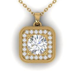1.32 CTW Certified VS/SI Diamond Art Deco Micro Halo Necklace 14K Yellow Gold - REF-193Y3K - 30503