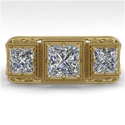 2 CTW Past Present Future VS/SI Princess Diamond Ring 18K Yellow Gold - REF-481H6A - 36070