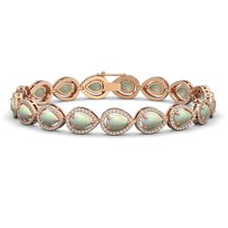 13.19 CTW Opal & Diamond Halo Bracelet 10K Rose Gold - REF-301Y5K - 41106
