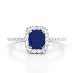 1.25 CTW Sapphire & Micro Pave VS/SI Diamond Halo Ring 10K White Gold - REF-34A2X - 22910