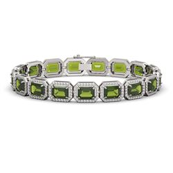 26.38 CTW Tourmaline & Diamond Halo Bracelet 10K White Gold - REF-411W3F - 41399