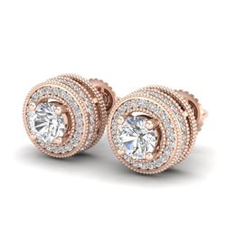 2.09 CTW VS/SI Diamond Solitaire Art Deco Stud Earrings 18K Rose Gold - REF-254N5Y - 37140