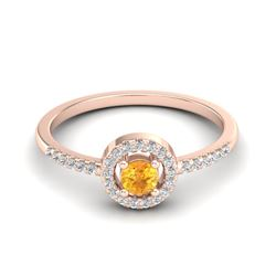 0.50 CTW Citrine & Micro Pave VS/SI Diamond Ring Solitaire Halo 14K Rose Gold - REF-31A8X - 20695