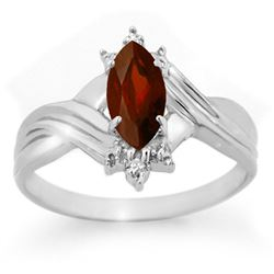 0.51 CTW Garnet & Diamond Ring 10K White Gold - REF-12W8F - 12354