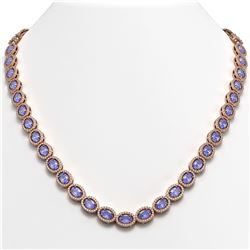 31.96 CTW Tanzanite & Diamond Halo Necklace 10K Rose Gold - REF-604T2M - 40410