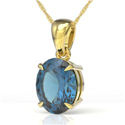 3.50 CTW London Blue Topaz Designer Solitaire necklace 18K Yellow Gold - REF-29A3X - 21870