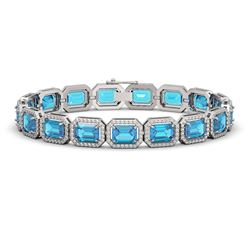 23.66 CTW Swiss Topaz & Diamond Halo Bracelet 10K White Gold - REF-311K3W - 41411