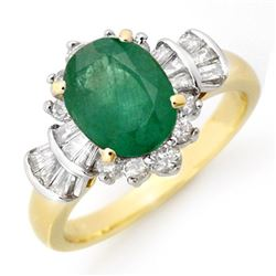 2.01 CTW Emerald & Diamond Ring 14K Yellow Gold - REF-80A2X - 13324