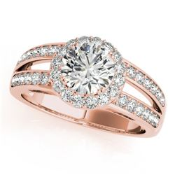 1.6 CTW Certified VS/SI Diamond Solitaire Halo Ring 18K Rose Gold - REF-415X3T - 26905