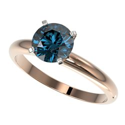 1.50 CTW Certified Intense Blue SI Diamond Solitaire Engagement Ring 10K Rose Gold - REF-240X2T - 32